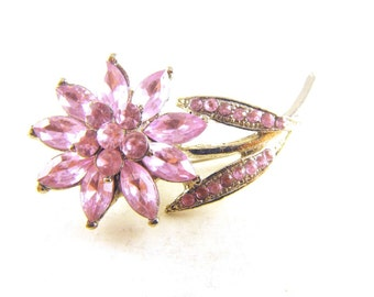 Rhinestone Flower Brooch Icy Pink Crystals Silver Tone Metals Two Tiered Beauty