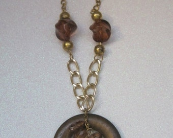 Brown And Gold Boho Chic Necklace, Vintage Necklace