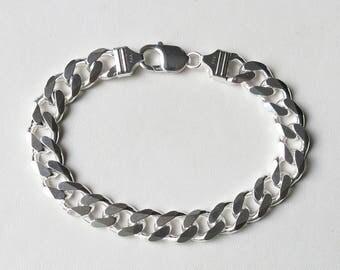 Men's sterling silver curb link bracelet