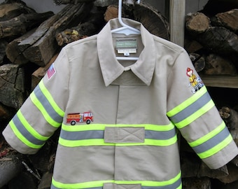 When I Grow Up, Boys size 2 thru 5 fireman's jacket in kakaii fabric, striped bands, appliques on front, back and both sleeves, velcro tabs