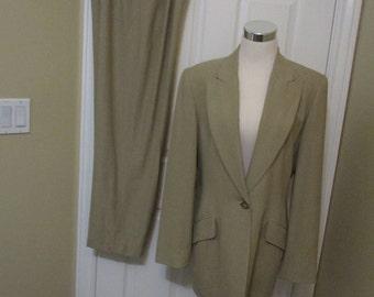 Womens Pant Suit Emanuel Ungaro vintage herringbone Beige tone pant suit size 8 womens suit