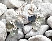 Sterling Silver, Smoky Quartz & Moss Aquamarine Woven Earrings
