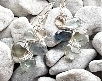 Sterling Silver, Smoky Quartz & Moss Aquamarine Woven Earrings