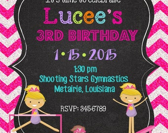 12 Gymnastics Birthday Party invitations with envelopes - tumbling party invitations- chalk- chalkboard-glitter- any colors