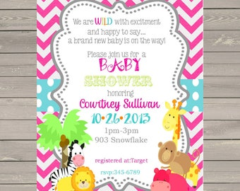 12 Jungle Animals Baby Shower invitations with envelopes -safari animals-ANY COLORS
