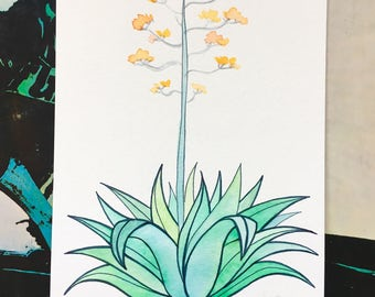 Blooming Green Agave Watercolor Painting // Cactus Art // Cactus Watercolor // Botanical Painting // Nursery Art // Plant Art