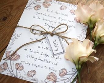 Blossom Floral Wreath Wedding Invitation, Day/Evening Wedding Invitation