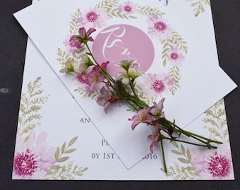 Floral Wedding Invitation, Day / Evening Wedding Invitation, Watercolour Floral Wedding Invite