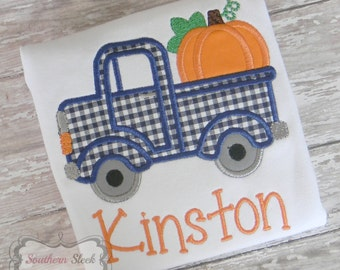 Truck With Pumpkin Embroidered Shirt or Bodysuit in Navy & Orange