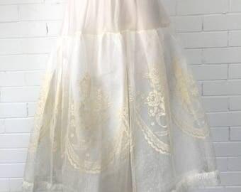Vintage 1950s Novelty Print Flocked Petticoat XS-XL