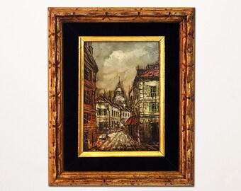 Petit European Street Scene Oil Painting