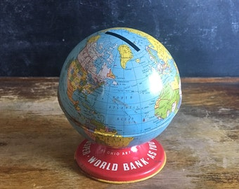 Ohio Art Tin Globe Bank World Bank Map Litho
