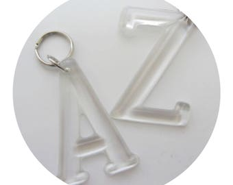 Personalised initial keychain resin keyring charm bagtag clear lanyard keychain