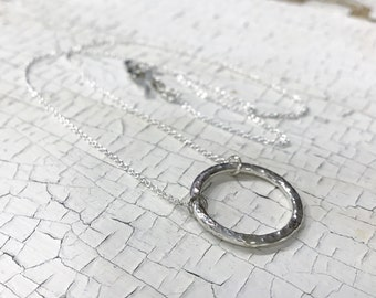 Sterling Silver Circle Necklace - Hammered Textured - Rustic - Hand Wrought Circle Pendant