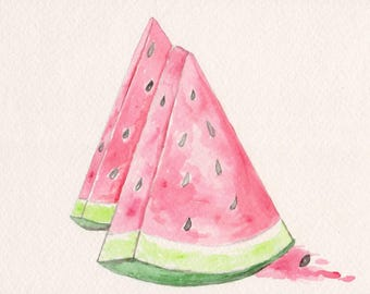 Watermelon Watercolor Print, Summer Food Painting, Fruit Kitchen Art, Gourmet Chef Gift, Pink and Green Home Decor, Picnic Picture, Slices