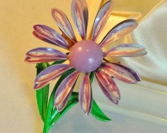 ON SALE Vintage Enamel Lilac Flower Brooch MOD - Cute