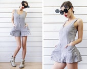 90s Vintage black white checkered cotton zip front overall romper jumpsuit short shorts mini dress suit S