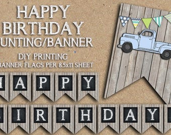 CUSTOM WORDING - the Vintage Truck Collection - Bunting Style Banner - Blue or Red - Happy Birthday - Dodge, Ford, Chevy