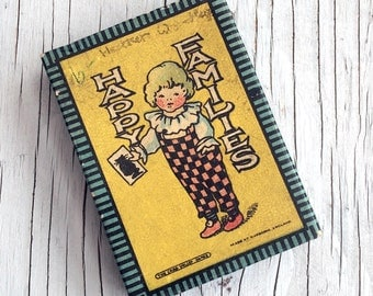 1920s Happy Families card game. Early Chad Valley wonderfully illustrated card game, in original box with rules. Gift for collector.