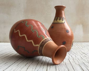 Two Vintage Art Pottery Vases from Peru, inspired by the art of the Incas from Studio Seminario, 1994. Beautiful vases from Cusco Peru.
