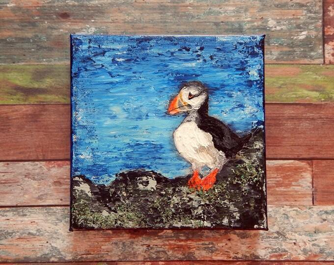 "Puffin Canvas Art | Shorebird Painting | Ocean Art | Beach Decor | 6x6 | ""Shorebirds"" Series No.2 | Saltons Cove Studio"