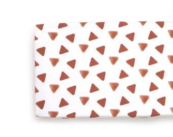 Changing Pad Cover Rust Stamped Triangles. Change Pad. Changing Pad. Minky Changing Pad Cover. Rust Triangle Changing Pad Cover.