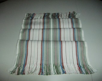 Vintage Swedish woven table runner with fringes - Colorful stripes