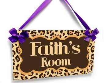 personalised leopard print door sign - girls teenagers room plaque - beige and brown - P2253