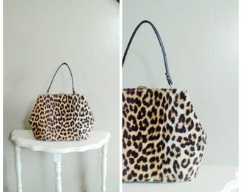25% OFF/ Miss Meow 1950s Faux Fur Tan & Black Leopard Print Handbag