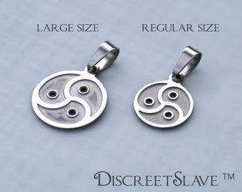 Large Stainless Steel Classic Bdsm emblem pendant. For masters, slaves and everybody in between