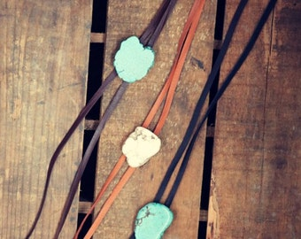 Leather Western Bolo Necklace-Turquoise, White, Deerskin, Leather, Western Necklace