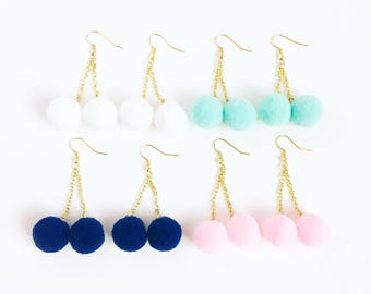 pom pom earrings kawaii cotton candy-pastel pom pom cherry kawaii earrings-cotton candy-pompom earrings-love factory NY