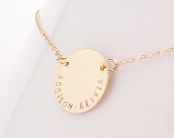 Personalized Names Disc, Dainty Everyday Necklace, Mama, Date, Handmade, Bridal, Bridesmaid, Mom Grandma, Gift for Her, Anniversary, Wedding
