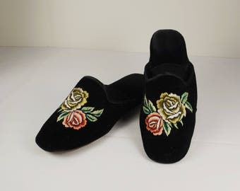 Black Velvet Embroidered Chinoiserie Mules Size 7