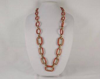 TARA 1960's Orange and Matte Gold Chain Necklace