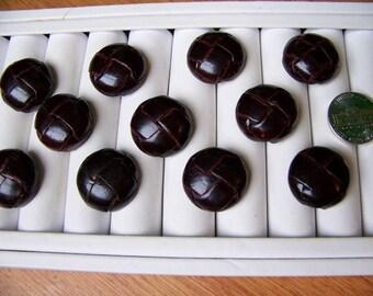 "Lot of 11 Vintage Similar Darkest Brown Leather Buttons 7/8"""