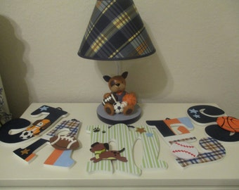 """JAMES - 12.00 PER letter 8-1/2"""" - 9"""" wood letters, lambs & ivy bow wow bedding, basketball, football, soccer, puppies, stars, dogs"""