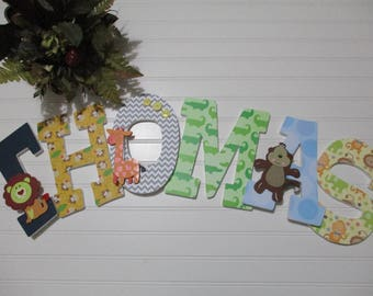 "THOMAS - 12.00 per LETTER boy's name, 8-1/2"" wooden nursery letters,  jungle theme, safari theme, lion, monkey, giraffe, elephant, rope"