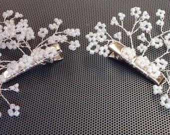 Beaded wedding hair clasps/clips, hair vine, babys breath, gypsophila, bride, bridesmaid, flower girl, Prom, Holy communion set of 2