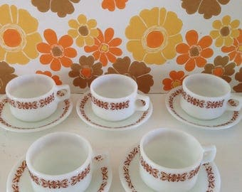 Vintage set of Pyrex cups and saucers made in the USA  5 x