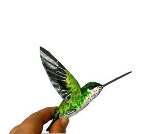 Hummingbird paper mache art sculpture bird figurine