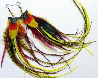 Long Feather Earrings, festival fashion, fire and flame colours, boho chic hippy feather jewelry
