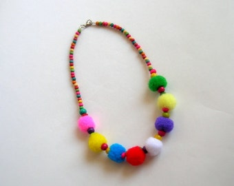 Pom Pom Necklace, Flower Girl Necklace, Colour Ful Pom Pom Necklace, Spring Necklace