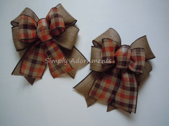 Fall Plaid Burlap bow Brown Orange Plaid Thanksgiving Decor Bows Autumn Plaid Lantern Bows Rustic Fall plaid Swag Bow Door hanger Bow