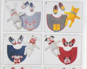 Vintage Butterick Pattern Number 3522 Bibs Dolls and Slippers Pattern Bunny Cat Cow Dog Baby Girl Boy Bibs Appliques Dolls and Slippers