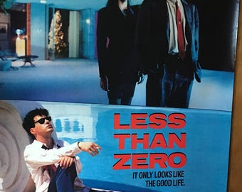 Movie poster, Less Than Zero with Andrew McCarthy.