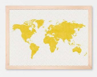 World Map Chevron Art Print Poster Yellow - Gray - Wall Hanging - Housewarming - Large World Map
