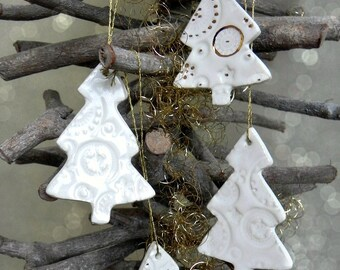 White Gold Ceramic Christmas Tree Ornaments Lace Pottery Gold Luxury Christmas Winter Home Decoration Christmas Gift