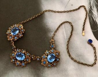 Vintage Sapphire Blue Bridal Necklace Choker 1920 1930 Czech Art Deco  Bohemian Filigree