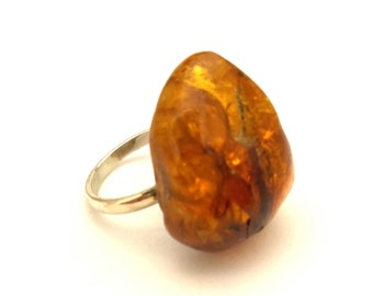 Amber Baltic Ring Vintage Honey Fossil Stone 5.53 Gr Solid Silver 925 Sz.8.0